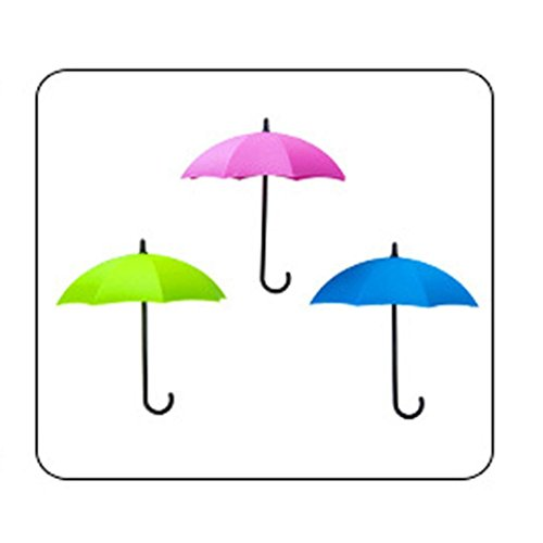 DZT1968 3pcs/set Cute Umbrella Wall Mount Key gadgets Holder Wall Hook Hanger Organizer 1.5x12x10.5cm (B)