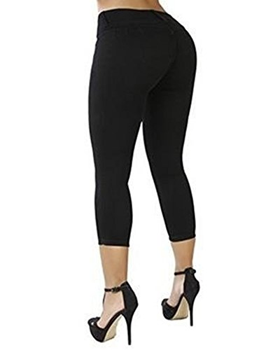 Alta A Skinny Casual Fit Donna Jeans Vita Nero Pantaloni Boyfriend Stretch Slim vpxq1H