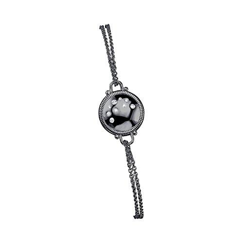 CHARLIZE GADBOIS Sterling Silver Diamond Disk Bracelet (0.055 cttw, I1-I2 Clarity) Gunmetal Nano Coated by Gadbois Jewelry (Image #1)