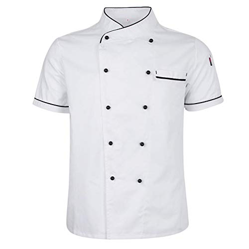 millet16zjh Double Breasted Short Sleeve Chef Costume Restaurant Hotel Kitchen Overalls Coat - White M