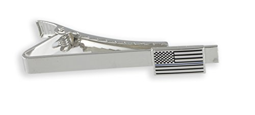 Official Thin Blue/Red Line American Flag Silver Tone Tie Bar (Thin Blue - Tie Clip Blue