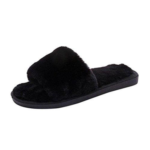 Femme Noir Claquette Flip Flat Flop Fourrure Rawdah Chaussures Faux Slipper Hiver Sandal dxP64Bq