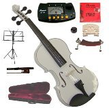 Merano 13'' White Viola with Case and Bow+Extra Set of Strings, Extra Bridge, Shoulder Rest, Rosin, Metro Tuner, Black Music Stand, Mute