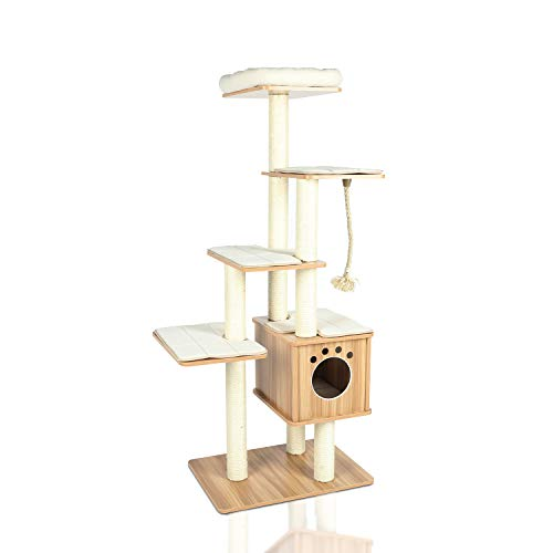 LAZY BUDDY 67' Wooden Cat Tree, [New Arrival] Modern Cat Tower, 5 Levels for Cat's Activity, Cat Furniture with Removable and Washable Mats for Kittens, Large Cats and Pets (Medium)