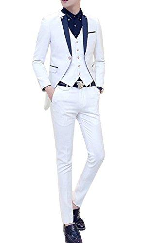 MOGU Mens Tail Tuxedo 3 Piece Suit US Size 32 White by MOGU (Image #3)