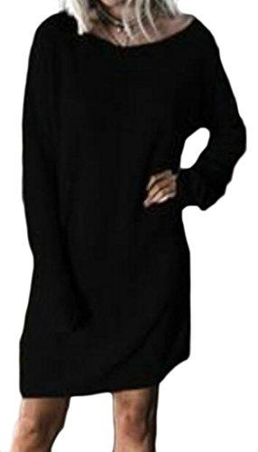 Sleeve Shirts Tops T Cromoncent Womens Loose Black Dress Long Crewneck Casual RwIq1a