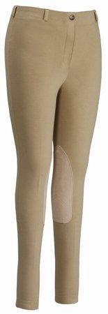 TuffRider Women's Cotton Pull-On Gripper Breech, Light Tan, 32