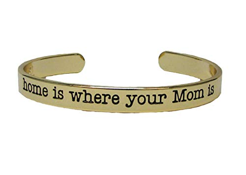 Home is Where Your Mom is Gold Cuff Bangle Bracelet Jewelry