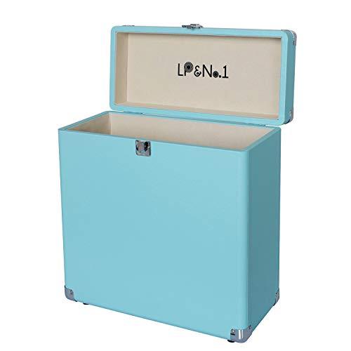 LP&No.1 Vinyl Record Storage Box,Suitable Carrying Case for 30+ Albums Blue