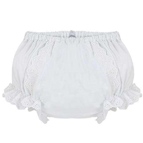 Carriage Boutique Baby Girls Panty Diaper Covers - Cotton Ruffled White Flowers, 18M