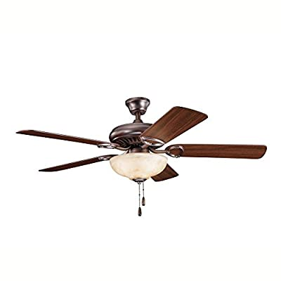 "Kichler Lighting Sutter Place Select - 52"" Ceiling Fan 339211OBB, Oil Brushed Bronze Finish with Cherry/Walnut Blade Finish with Umber Alabaster Glass"