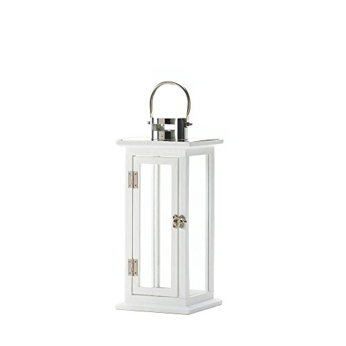 Highland Painted Green (White Wood Candle Lantern - 16 inches)