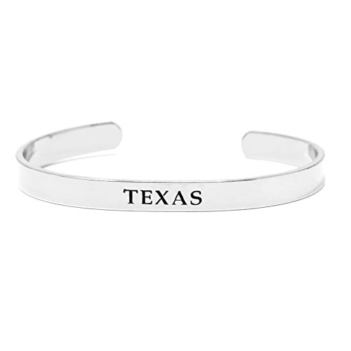(Me Plus Inspirational Texas State Engraved Cuff Bangle Bracelet Gold, Silver, Rose Gold (Texas - Silver))