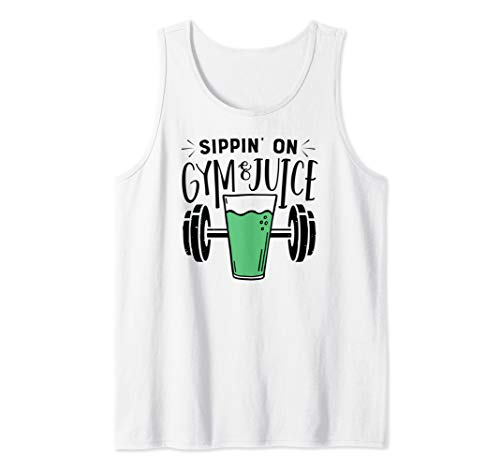 Sippin on Gym and Juice Funny Veganism Vegan Animal Lover Tank Top