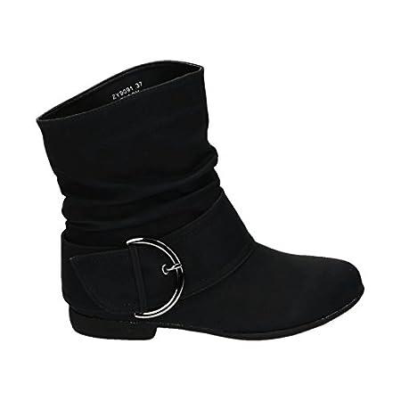 King Of Shoes Damen Stiefeletten Cowboy Western Stiefel Boots Flache Schlupfstiefel Schuhe 91