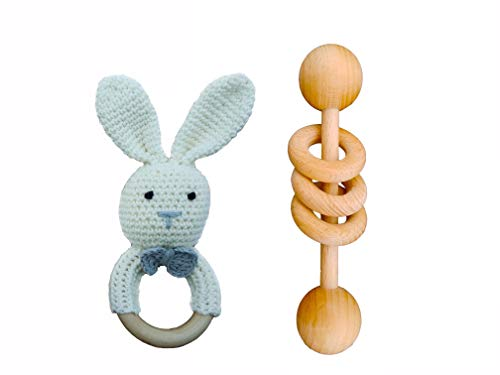 (Mali Wear Natural Wooden Baby Toys Cotton Crochet Bunny Teething Ring Teether and Rattle Montessori Inspired Newborn Unisex baby Shower gift)