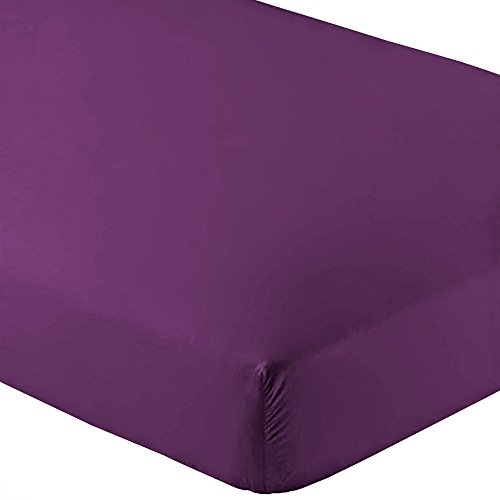 Bare Home Fitted Bottom Sheet Twin Extra Long - Premium 1800 Ultra-Soft Wrinkle Resistant Microfiber, Hypoallergenic, Deep Pocket - (Twin XL, Plum)