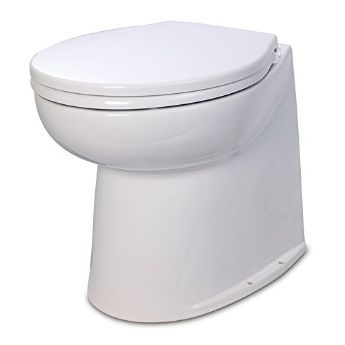 Jabsco 58240-2012 , Deluxe Flush Marine Head, 17 inch Electric Marine Toilet, Straight Back, Raw Water Rinse, 12 - Place Shops Canal Of