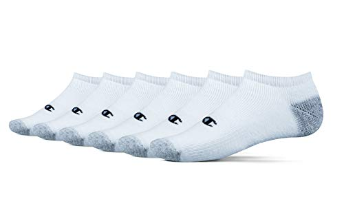Champion Men's 6-Pack Double Dry Performance No-Show Socks, White, Shoe Size: 6-12 ()