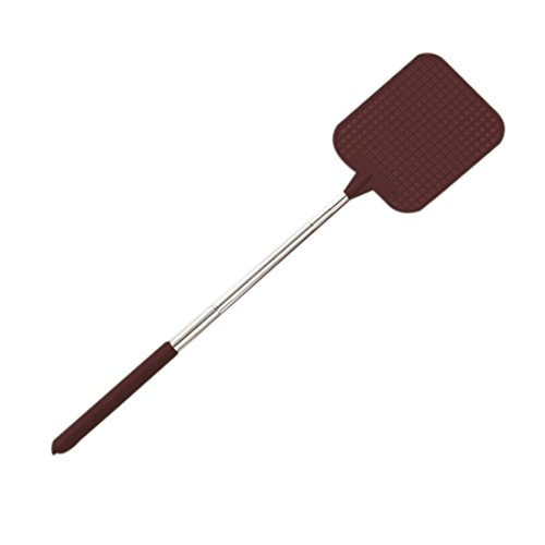 izasky Extendable Fly Swatter - Flies Swatter Plastic Durable Telescopic Mosquito Zapper Bug Killer Surface Long Handle And Anti Slip Grip Portable To Be Your Travel Partner (Brown) by izasky