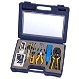 InstallerParts 10 Piece Network Installation Tool Kit -- Includes LAN Data Tester, RJ45 RJ11 Crimper, 66 110 Punch Down, Stripper, Utility Knife, 2 in 1 Screwdriver, and Hard Case