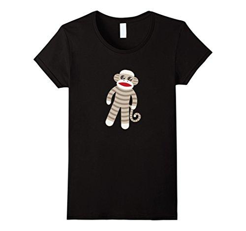 Womens Cute Classic Striped Sock Monkey T-Shirt Small Black