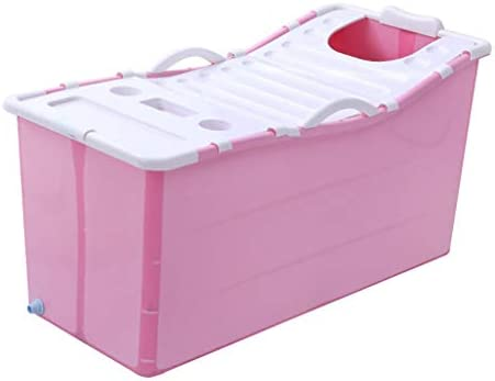 家族浴室用折り畳み式インフレータブル厚く暖かい大人エアーポンプ付きバスタブ子供インフレータブルプールアンチ滑りやすいです (Color : Pink)