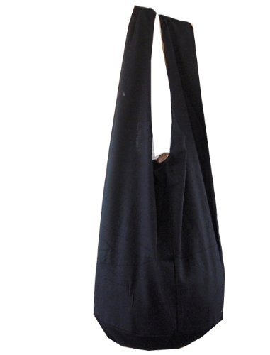 BTP! Thai Monk Buddha Cotton Sling Crossbody Messenger Bag Purse Hippie Hobo Solid Large (Black XL1)