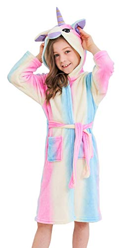 Soft Unicorn Hooded Bathrobe Sleepwear - Unicorn Gifts for Girls (4-5 Years, Red Rainbow)
