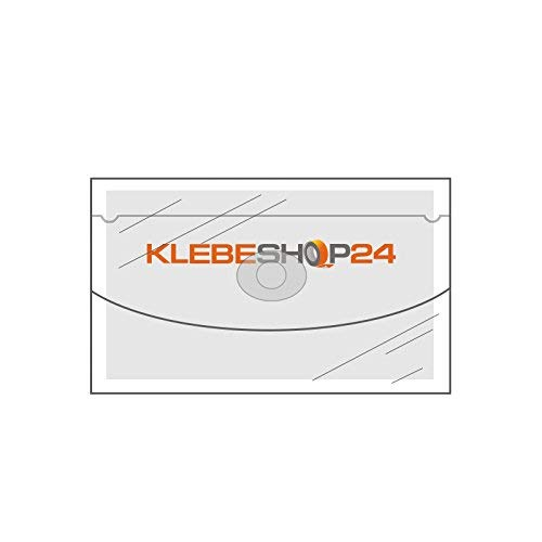 Tarjeta de abierto, visita bolsillos autoadhesiva, ancho, lado abierto, de con Tapa, 20 o 100 unidades, transparente, 105 x 60 mm, etiqueta tarjeta de visita bolsillos para tarjetas de visita, memorias USB, etc./ 20 unidades 65b962