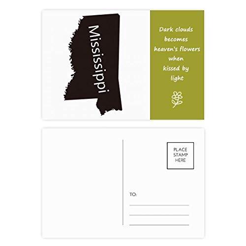 Mississippi USA Map Silhouette Poetry Postcard Set Thanks Card Mailing Side 20pcs (Postcard Mississippi)