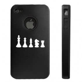 Apple iPhone 4 4S 4G Black D1891 Aluminum & Silicone Case Cover Chess Pieces