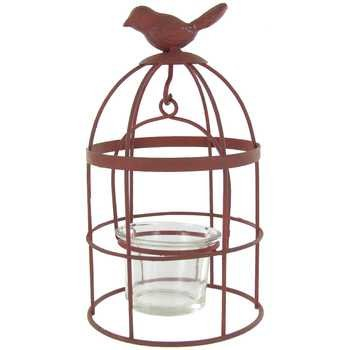 Antique Red Metal Bird Cage with Votive Candle ()