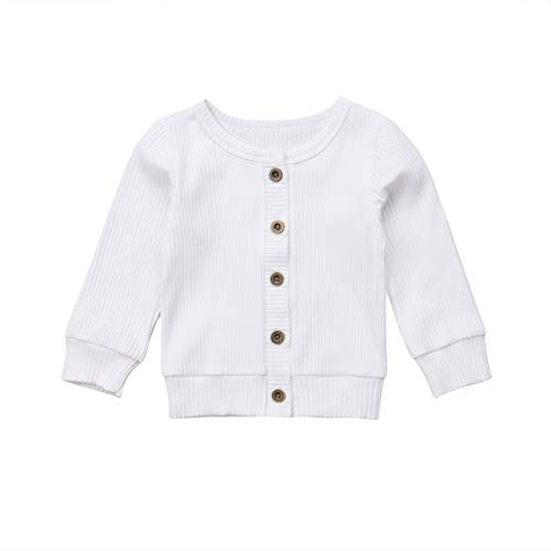 (Newborn Toddler Baby Girls Long Sleeve Button Down Knitted Sweater Cardigan Coat (0-3 Months, White))