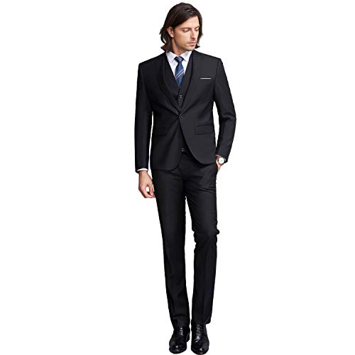 YIMANIE Mens Solid 3-Piece Suit One Button Formal Jacket Pants Vest Set Blazers, Black, Small
