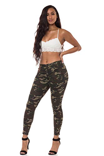 Aphrodite Mid Rise Jeans for Women - Skinny Ankle Womens Washed Distressed Camo Jeans with 5 Pockets 1257 Camo 7