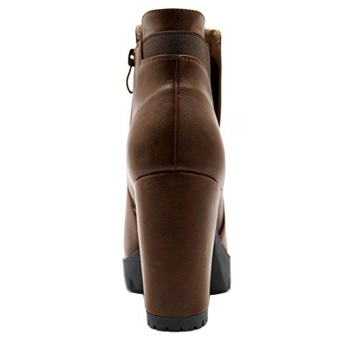 Allegra High Plateau Boots Chelsea Braun Heel Frauen Reißverschluss K Chunky wTqwxUFZ