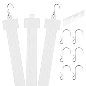 "Pack of 25 – 12 Station Hanging Merchandise Strips with S Hooks, 21"" Plastic Display Clip Strips for Retail Display with Removable Header"