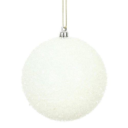 Vickerman 510827-4 White Tinsel Ball Christmas Christmas Tree Ornament (4 pack) (N178011) - Christmas Ornament Ball Tinsel