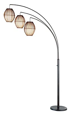 """Adesso 4026-26 Maui 82"""" Arc 3-Light Floor Lamp – Lighting Fixture with Antique Bronze Finish, Smart Outlet Compatible Lamp. Tools and Home Improvement"""