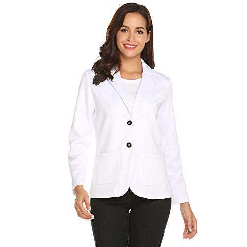 ZHENWEI Long Sleeve Cardigan Blazer for Women White Slim Casual Work Office Solid Color 2 Button Blazer Stretch Crepe