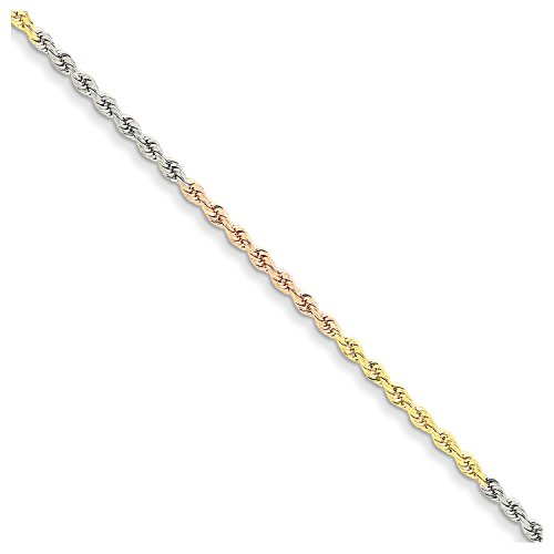 7' 2.5 Mm Diamond (Roy Rose Jewelry 14K Tri-Color Gold 2.5mm Diamond-cut Rope Chain Bracelet ~ Length 7'' inches)