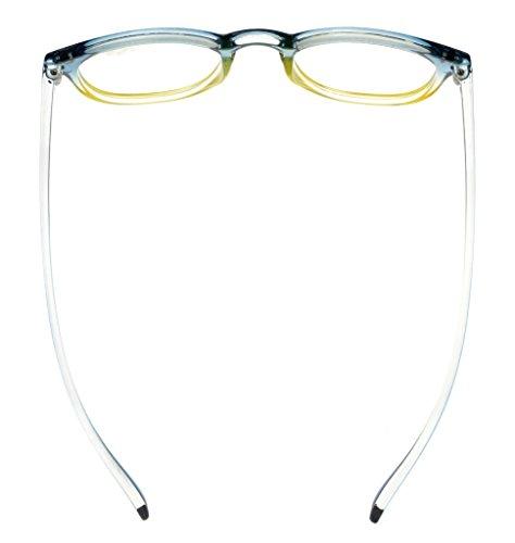 Eyekepper Lunettes de vue pour femme Lunettes de lecture fashion (marron-clair monture, +1.00) Bleu/Jaune Monture