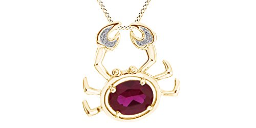 Jewel Zone US Oval Shape Red Simulated Ruby & White Natural Diamond Crab Pendant in Gold Over Sterling Silver ()