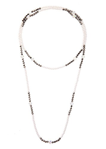 Boardwalk Flapper Adult Costumes (Nightycatty 1920s Pearl Rhinestone Necklace Flapper Beads Great Gatsby Accessories)