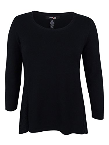 Style & Co. Womens Plus Pointelle Long Sleeves Tunic Sweater