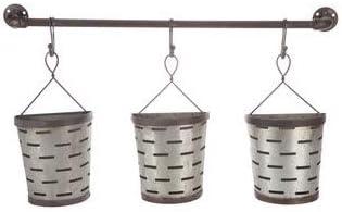 Galvanized Rustic Metal Wall Hanging Olive Bucket