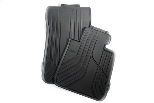 BMW 3 Series all-weather floor mats FRONT Black with modern/basic design (Set of (Bmw Front Floor Mat)
