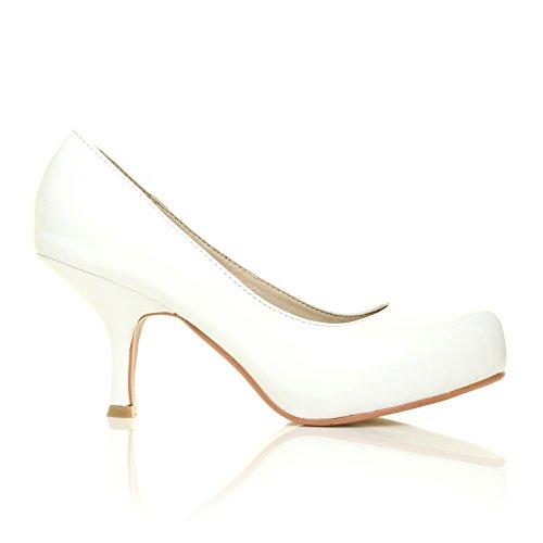 ADA Weiß Lack PU Leder Pumps Kitten Absatz Schuhe Weiß Lackleder