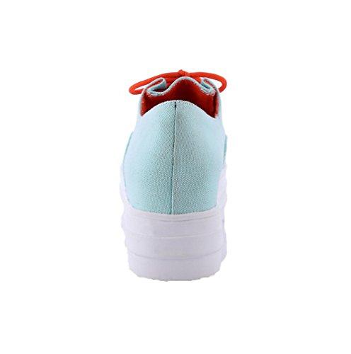 Unie Lacet Talon Toile Rond Agoolar Bleu Légeres Femme Correct Couleur À Chaussures q488ER